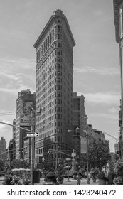 New York City, NY / USA - August 26th, 2012: Black and white capture of the Flatiron Building seen from the 5th Ave