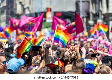 New York City, NY, USA - 06/30/2019 : Thousands of people wearing colorful costumes attending the World Pride March in NYC for LGBTQ+ rights.