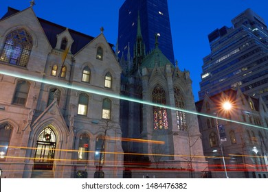New York City, NY, USA - December 16, 2015. View of the St. Patrick's Cathedral from Madison Avenue and E 50th Street. Taken early in the morning.