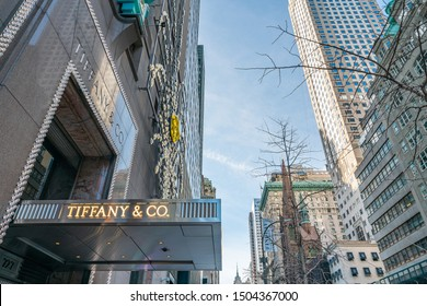New York City, NY, USA - December, 2018 - Tiffany, the Iconic Luxury American retailer known for fine jewelry at Fifth Avenue. Famous for the movie Breakfast at Tiffany's.