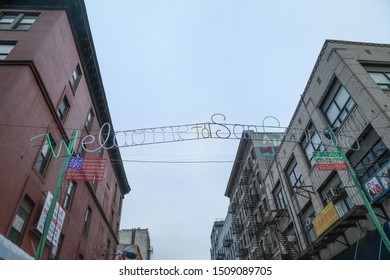 New York City, NY, USA- September 14, 2019: A sign at the entrance to Little Italy, welcomes patrons to the 93 annual Feast of San Gennaro.