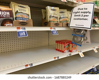 New York City, NY, USA- March 30, 2020. Stores post signs limiting customers to two items to combat shortages due to Covid-19 virus pandemic panic buying and hoarding.