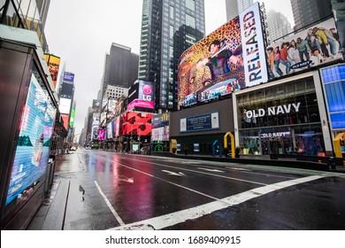 New York City, NY / USA - 3/29/2020: Empty Times Square during Coronavirus quarantine lockdown