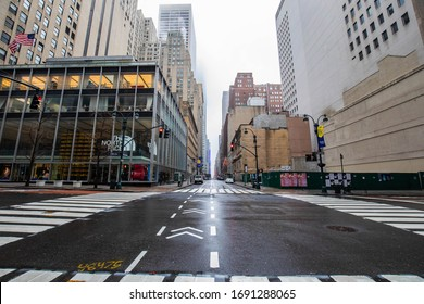New York City, NY / USA - 3/29/2020: Empty streets of New York City during Coronavirus quarantine lockdown