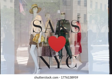 New York City NY USA July 9 2020:Store front of American chain of luxury department stores Saks Fifth Avenue flagship on the FifthAvenueNYC.