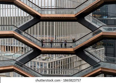 New York City, NY, USA - october 20, 2020: The Vessel,  the Hudson Yards Staircase (designed by architect Thomas Heatherwick) Midtown Manhattan West