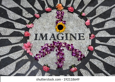 New York City, NY, USA - July 11 2009: Strawberry Fields mosaic in Central Park, tribute to John Lennon, Manhattan