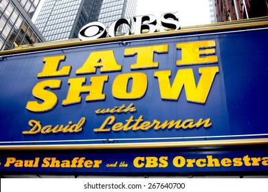 NEW YORK CITY, NY, USA, April 2015 - The Late Show with David Letterman sign at the Ed Sullivan Theater on April 7, 2015 in New York. David Letterman is to be replaced by Stephen Colbert during 2015.
