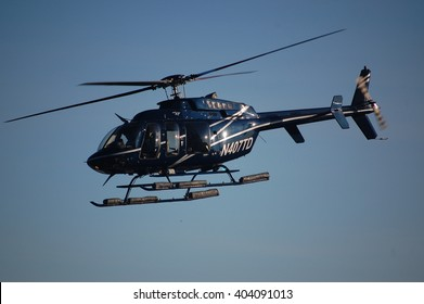 New York City, NY, USA - September 24, 2008: Helicopter arriving at lower Manhattan heliport.