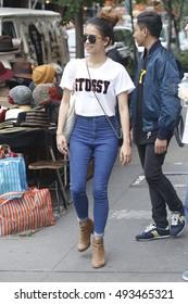 New York City, NY, USA - October 3, 2016: A woman walks in Soho in New York City.