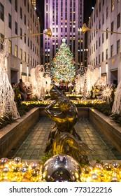 NEW YORK CITY, NY, USA - DECEMBER 23, 2016: Christmas tree at Rockefeller Center in Manhattan, New York City on December 23, 2016.