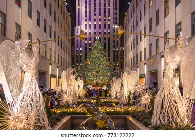 NEW YORK CITY, NY, USA - DECEMBER 23, 2016: Christmas tree at Rockefeller Center in Manhattan, New York City on December 23, 2016.