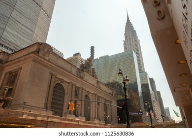 New York City, NY / USA-June 16 2018: Grand central station and Chrysler Building