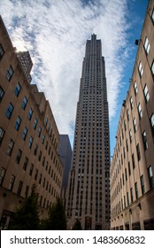 New York City, NY, USA-June 25th 2019-The Rockefeller Center with the Rockefeller plaza in the heart of Manhattan