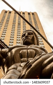 New York City, NY, USA-June 25th 2019-The statue of Atlas is located on the fifth avenue of NYC by the Rockefeller Center