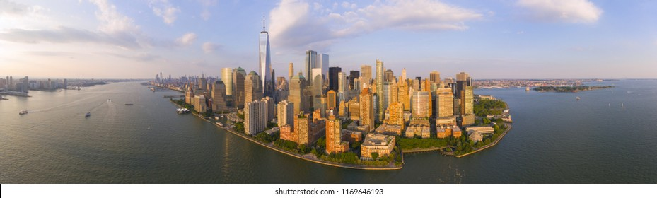 New York City NYC Manhattan Downtown Skyline panorama, New York City, USA.