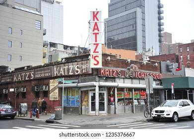 New York City, NY/United States-05/18/2015: The exterior of Katz's Deli from across Ludlow Street.