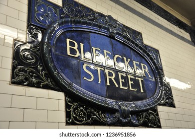 New York City, NY/United States-05/18/2015: Beautiful tile signage for the Bleecker street subway station.