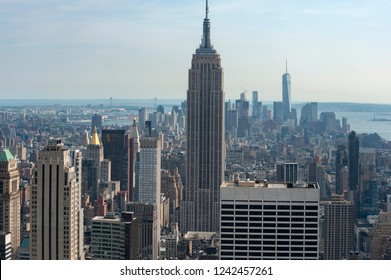 New York City, NY/United States-05/18/2015: The Empire State Building dominates the New York skyline.