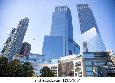 new york city, ny/usa- 9-29-18: time warner center buildings at columbus circle nyc
