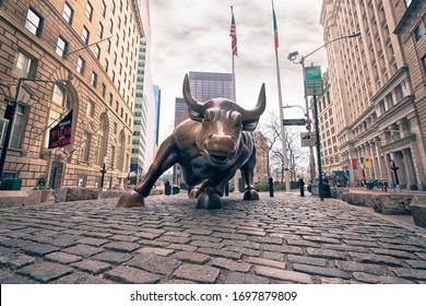 New York City, Ny/USA - April 5 2020: Charging Bull, Wall Street