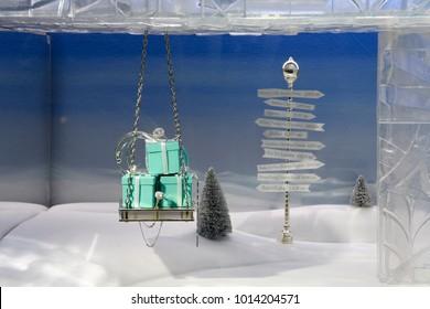 New York City, NY/USA - December 22, 2017: Holiday window display at Tiffany in NYC.