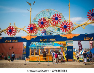 New York City, NY/USA - July 28, 2016: People purchase tickets for the amusement park at Coney Island, NYC