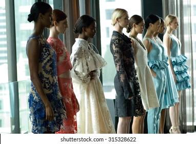 NEW YORK CITY, NY/USA -  SEPTEMBER  10  2015: Models pose at the John Paul Ataker Spring/Summer 2016 Presentation during New York Fashion Week