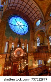New York City - Oct 11, 2017: The Eldridge Street Synagogue, built in 1887, is a National Historic Landmark synagogue in Manhattan's Chinatown neighborhood.