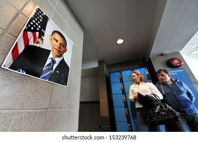 NEW YORK CITY - OCT 11:Poster of Barack Obama on Oct 11 2010.Barack Hussein Obama II is the 44th and current President of the United States, the first African American to hold the office.