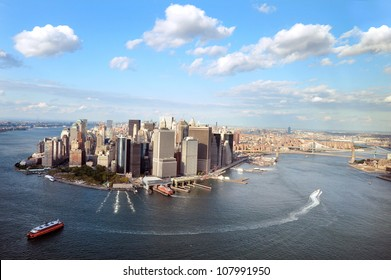 NEW YORK CITY - OCT 13 2009: Aerial landscape view of Manhattan Island in New York City,NY USA. Manhattan is the most densely populated and the oldest of the five boroughs of New York City.