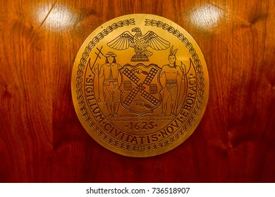 "New York City - Oct 14, 2017: The seal of the New York City, adopted in an earlier form in 1686, bears the legend Sigillum Civitatis Novi Eboraci which means simply ""The Seal of the City of New York"""