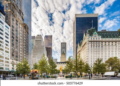 NEW YORK CITY - OCT 19: Grand Army Plaza in New York on October 19, 2016. Grand Army Plaza lies at the intersection of Central Park South and Fifth Avenue in front of the Plaza Hotel in Manhattan.