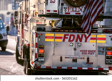 NEW YORK CITY - OCT 20, 2015: FDNY Ladder truck going for resque call