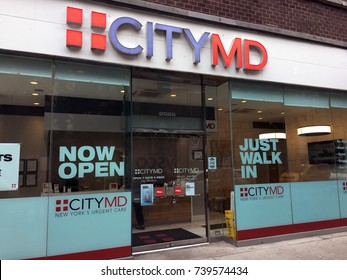 NEW YORK CITY - OCT 2017: CityMD Urgent care facility. A walk-in clinic focused on delivery of ambulatory care in medical facility outside of traditional emergency room. h3n2 flu fever sick death bad