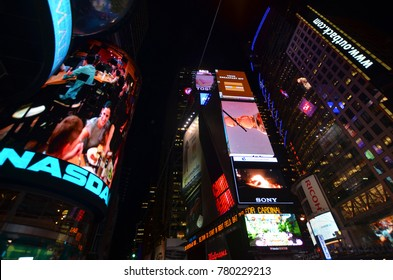 NEW YORK CITY - OCT 25: Times Square, featured with Broadway Theaters and huge number of LED signs, is a symbol of New York City and the United States, Oct. 25, 2013 in Manhattan, New York City