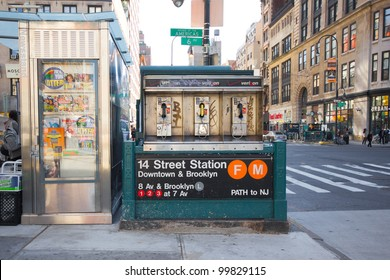 NEW YORK CITY - OCT. 7:  14th Street subway station entrance at intersection in NYC seen on Oct. 7, 2011.  This underground station opened on December 15, 1940.