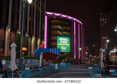 NEW YORK CITY - OCTOBER 01, 2016: The square on 33rd street in front of Madison Square Garden at night