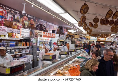 NEW YORK CITY - OCTOBER 01, 2016: The fishmongers behind their desk at Zabar's speciality food store on Broadway