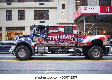 NEW YORK CITY - OCTOBER 02, 2016: Donald Trump campaign truck, covered in stars and stripes, driving on 57th street on Manhattan