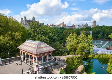 NEW YORK CITY - OCTOBER 03, 2016: View from Belvedere Castle over Delacorte amphitheater and the Upper West Side skyline