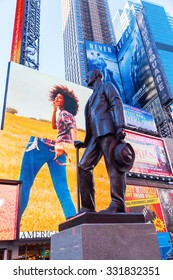 NEW YORK CITY - OCTOBER 06, 2015: statue called Give My Regards to Broadway of George M Cohan on Duffy Square at Times Square.The statue was designed by sculpture Georg J Lober