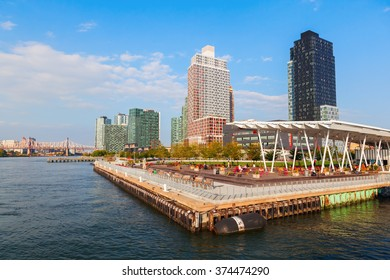 NEW YORK CITY - OCTOBER 08, 2015: Ferry Pier at Long Island. Long Island is the most populated island in any U.S. state or territory, and the 18th-most populous island in the world