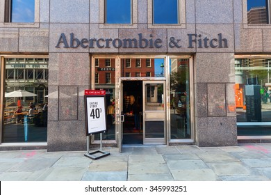 NEW YORK CITY - OCTOBER 08,2015: Abercrombie and Fitch store in NYC. Its an retailer that focuses on upscale casual wear for young consumers, with over 400 locations in the US, expanding international