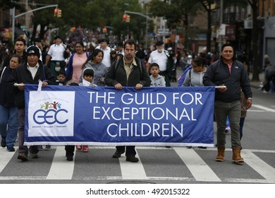 NEW YORK CITY - OCTOBER 1 2016: The 50th Annual Ragamuffin Parade filled Third Avenue in Bay Ridge with kids of all ages wearing bright costumes as they have since 1966. Guild for Exceptional Children