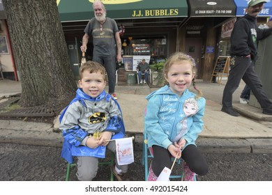 NEW YORK CITY - OCTOBER 1 2016: The 50th Annual Ragamuffin Parade filled Third Avenue in Bay Ridge with kids of all ages wearing bright costumes as they have since 1966.
