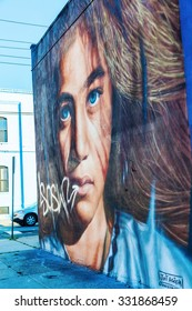 NEW YORK CITY - OCTOBER 10, 2015: mural art in Bushwick, Brooklyn. Bushwick is one of NYCs major street art hubs, with an outdoor art gallery known as the Bushwick Collective