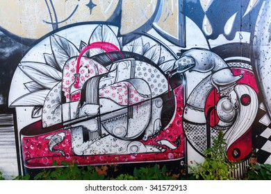 NEW YORK CITY - OCTOBER 11, 2015: graffiti art in Hunts Point, Bronx. Graffiti in New York City has had a local, countrywide, and international influence.