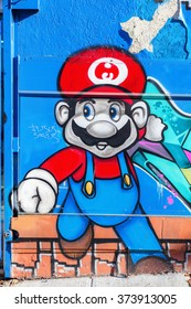 NEW YORK CITY - OCTOBER 11, 2015: graffiti of Super Mario in Hunts Point, Bronx. Super Mario is the most popular video game character of the world renown Nintendo company