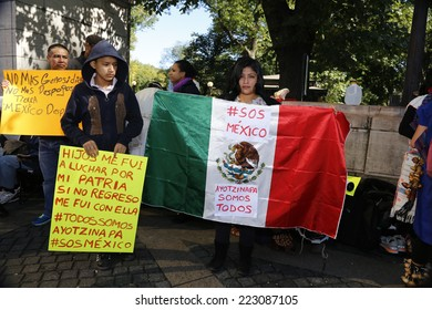 NEW YORK CITY - OCTOBER 12 2014: the 7th Annual Indigenous Day of Remembrance was observed in Columbus Circle by Native & Latino activists celebrating 500 years of resistance to colonialism